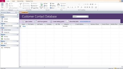 microsoft access customer contact database access