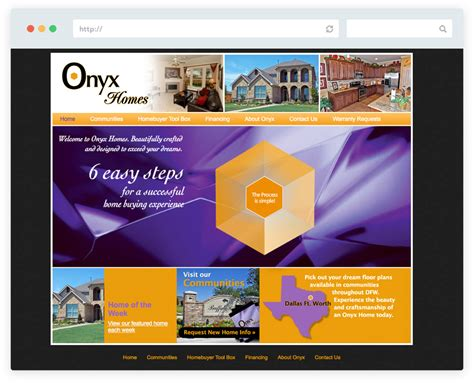 website design onyx homes jb3designs