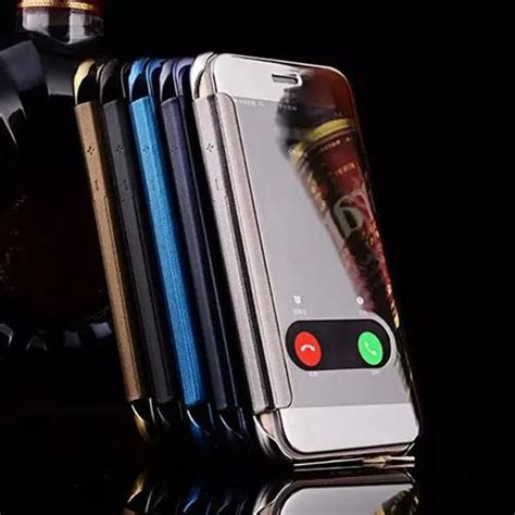 Wallet Mirror View Flip Cover Iphone 7 Plus 4 7 Gold for iphone x 8 luxury clear view mirror screen chrome