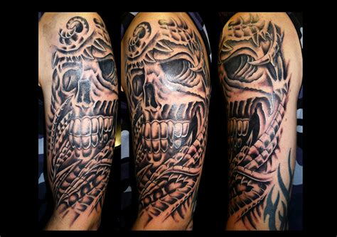 skull tattoo sleeves designs biomechanical tattoos and designs page 262