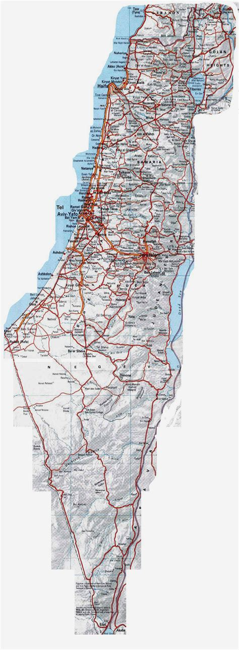 large printable road maps image gallery large map of israel