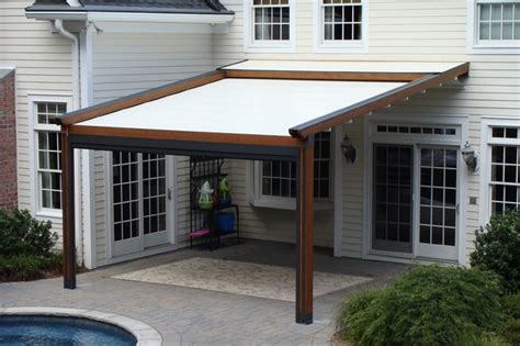outdoor awnings retractable private residence northern nj retractable pergola