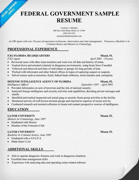 federal government resume template exles of resumes professional federal resume format