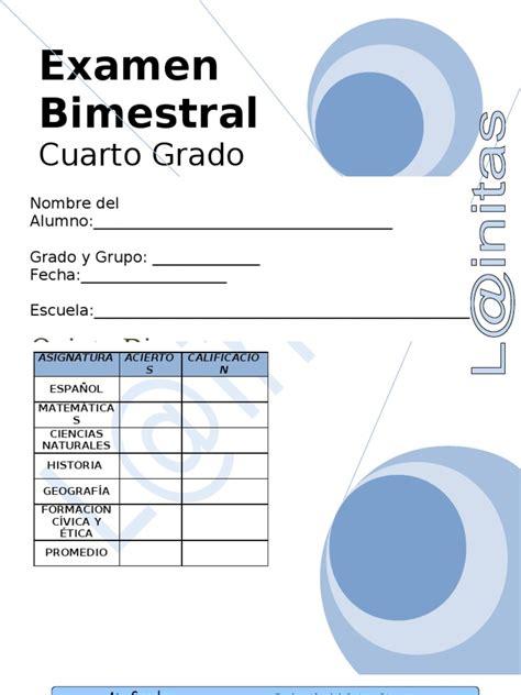examen bimestral del primer bloque de sexto grado ciclo escolar 2014 4to grado bimestre 5