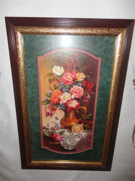 details  lot   floral roses bouquet picture homco