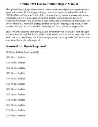 how to download repair manuals 1994 honda prelude lane departure warning 1994 honda prelude repair manual online by robertjames smith issuu
