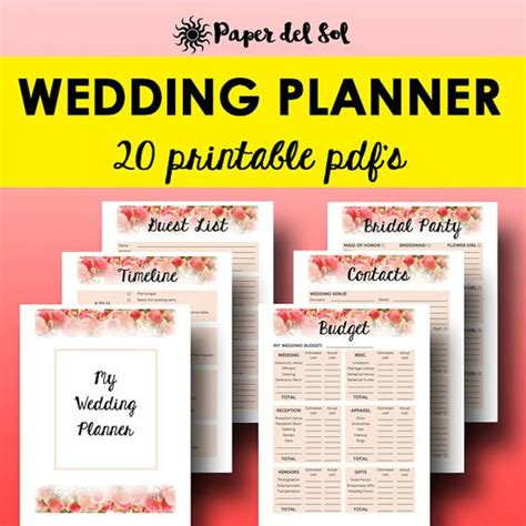 printable wedding planning kit wedding binder wedding planners and planners on pinterest