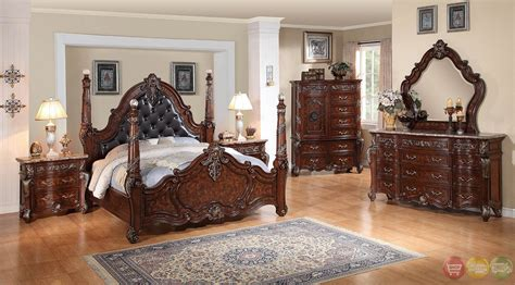 Grandeur Leather Rustic Cherry Poster Bedroom Set With Granite Top Bedroom Furniture