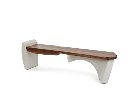 concrete curved bench nico yektai bench 14 series 1 walnut with curved concrete