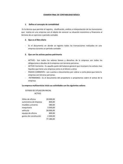 EXAMEN FINAL DE CONTABILIDAD BÁSICA