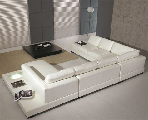 modern white bonded leather sectional sofa t35
