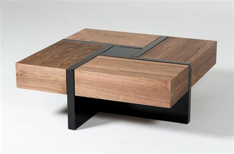 Square Coffee Table Modern Modrest Makai Modern Walnut Black Square Coffee Table