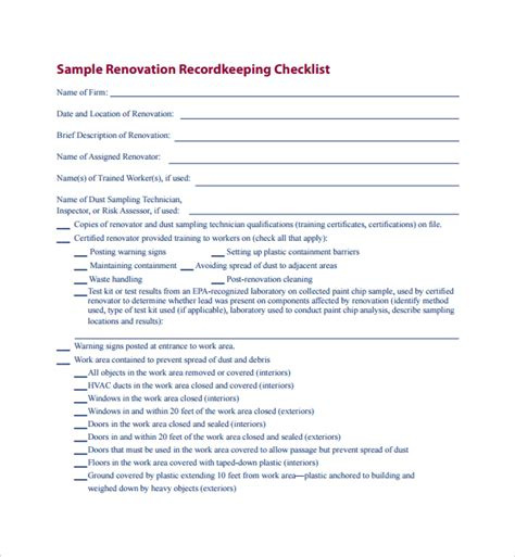 renovation checklist template sle renovation checklist template 9 free documents