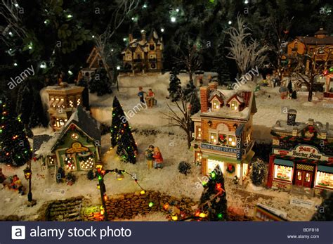 miniature christmas village toy houses decorations stock