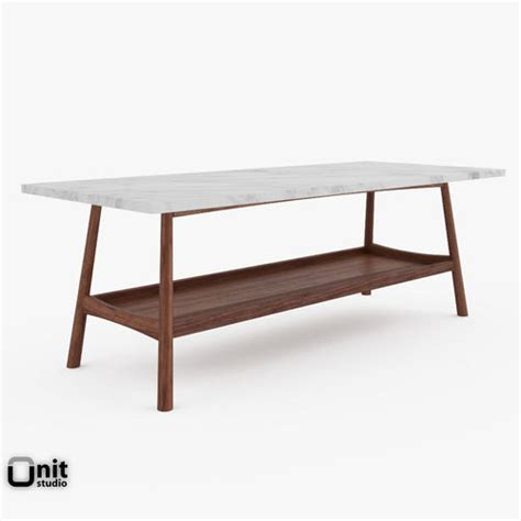 elm reeve coffee table reeve mid century rectangular coffee table by elm 3d