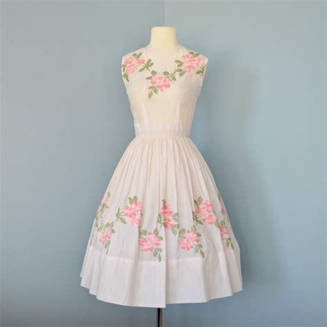 Vintage Dress pale pink vintage dress pale pink cotton 1950s jeanne