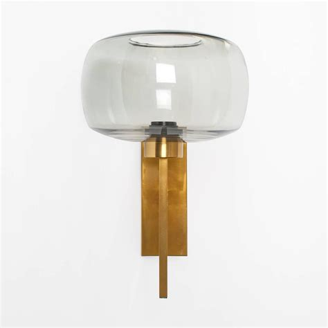 Modern Brass Sconce Pair Of Scandinavian Modern Brass Sconces With Gray Glass