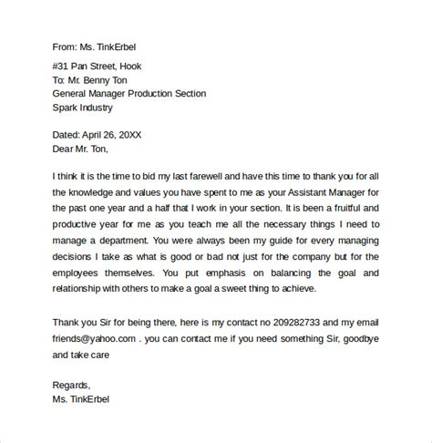 goodbye letter template sle farewell letters to coworkers 12 documents in word pdf