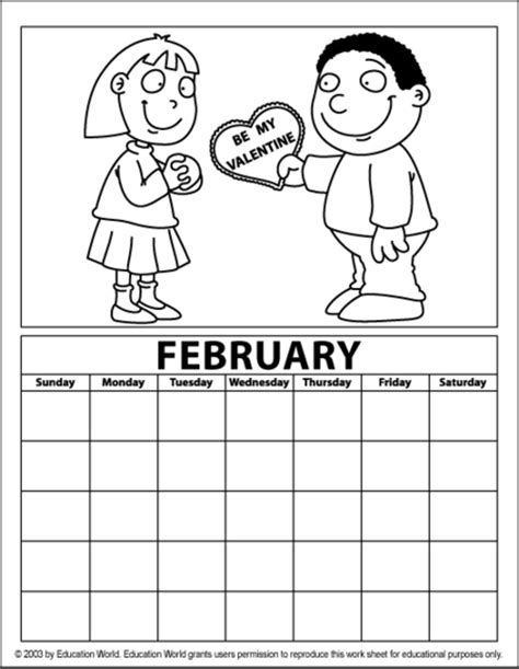 february coloring calendar education world