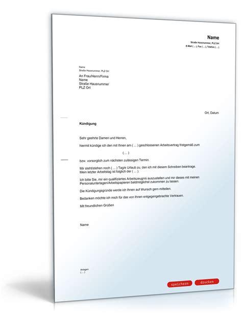 Muster Dienstvertrag Schweiz K 252 Ndigung Dienstvertrag Fristgem 228 223 Dienstnehmer Muster Vorlage Zum