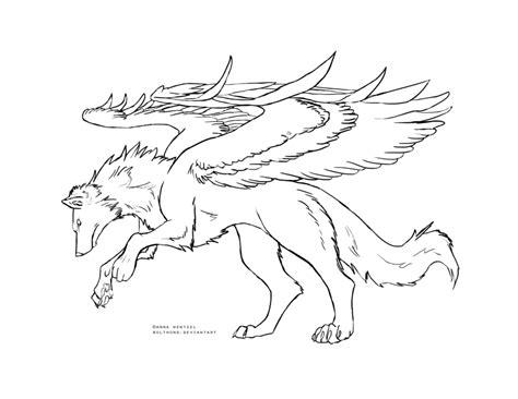 winged wolf coloring page winged wolf lineart black by bolthound on deviantart