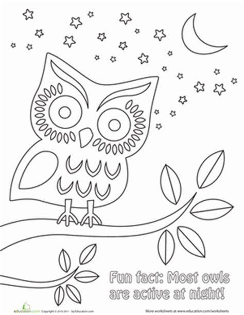 day and night coloring page for kindergarten nighttime owl coloring page free worksheets worksheets