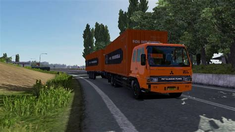 mod game ets 2 bus indonesia fuso fn tandem pos indonesia v1 truck euro truck