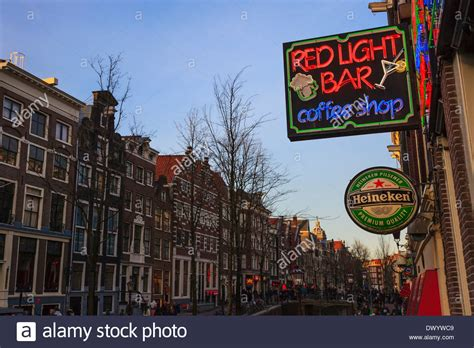the light bar shop view of the light district of amsterdam with a brown