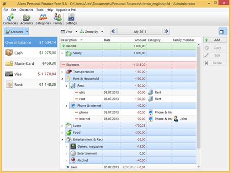 personal finance home portable software cressihigsi s diary