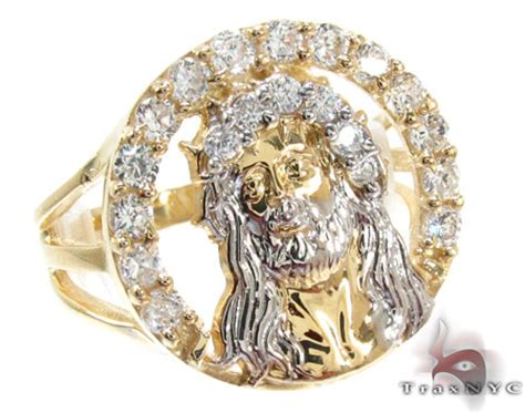 yellow 10k gold cz jesus ring 25246 mens gold ring yellow