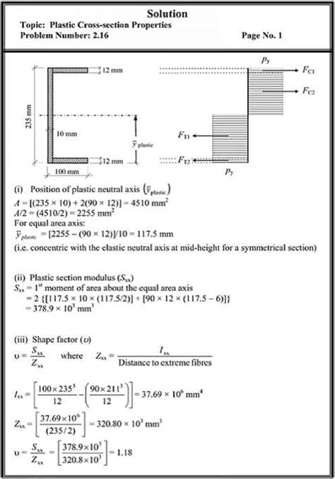formula for section modulus problems plastic crosssection properties structural analysis