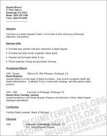 Dentist Resume Template by Dental Hygiene Resume Objectives Image Search Results