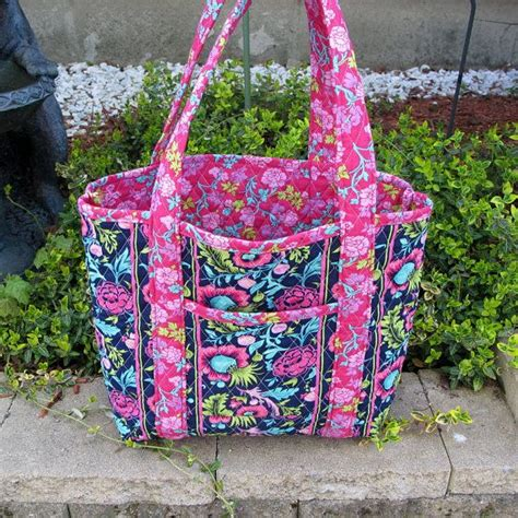 Quilted Totes And Bags by Navy Blue And Pink Floral Quilted Tote Bag Bag