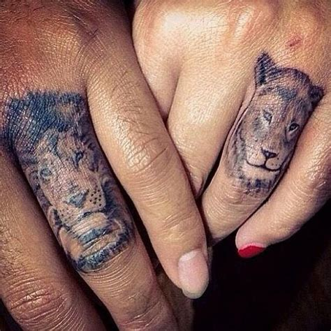 lion tattoo on your finger 50 captivating couple tattoo designs amazing tattoo ideas