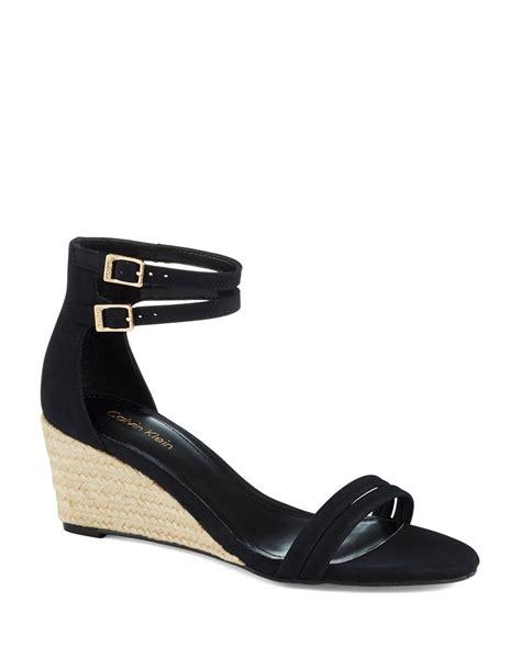 calvin klein wedge sandals calvin klein callista wedge sandal in black lyst