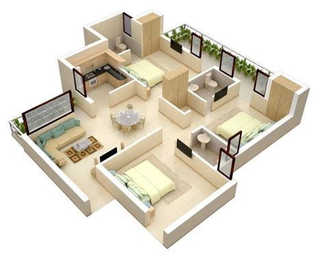 three bedrooms 3 bedroom apartment house plans