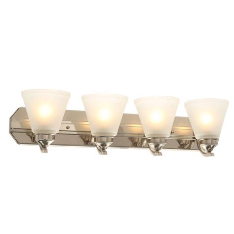 hton bay 4 light brushed nickel wall vanity light cbx1394 2 sc 1 the home depot hton bay 4 light brushed nickel vanity light with frosted shades hb2077 35 the home depot