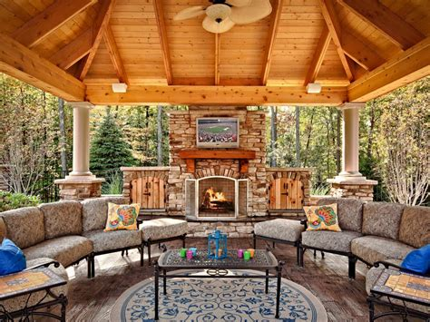 pavilion plans backyard outdoor fireplace plans hgtv