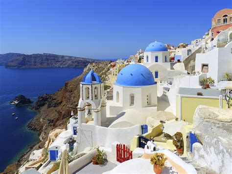 vacation places idyllic village oia on santorini island greece full hd