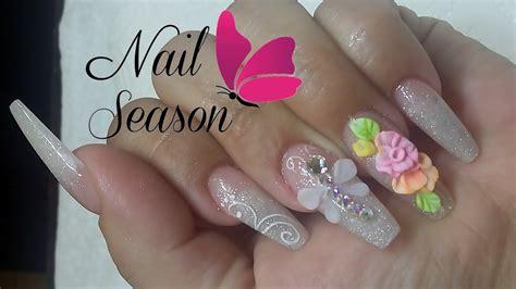 imagenes de uñas acrilicas con flores 3d flor 3d u 241 as acrilicas paso a paso colores pastel youtube