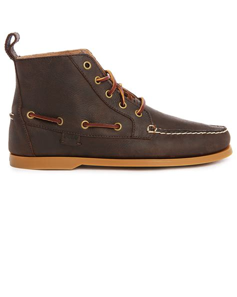 brown polo boots polo ralph barrott leather high top ankle boots in