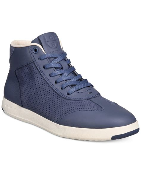 lyst cole haan grand pro high top sneakers in blue for