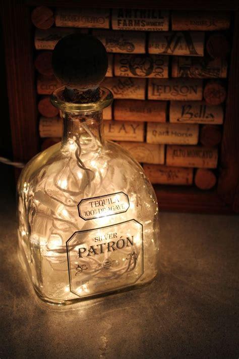 upcycled patron bottle light  cork upcycled christmas