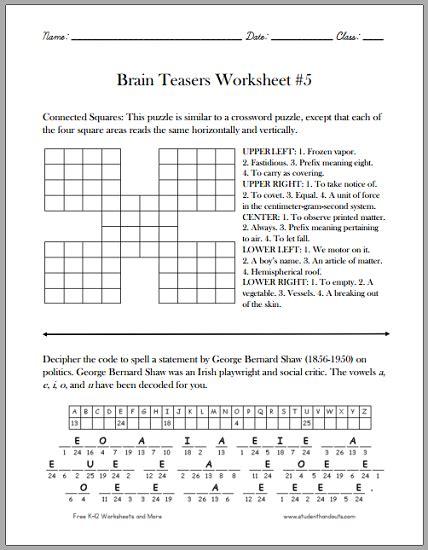 printable games pdf brain teasers worksheet 5 free to print pdf grades 4