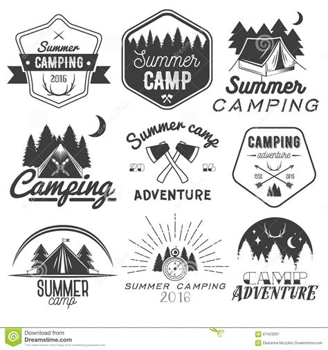 logo design white label vector set of cing labels in vintage style design