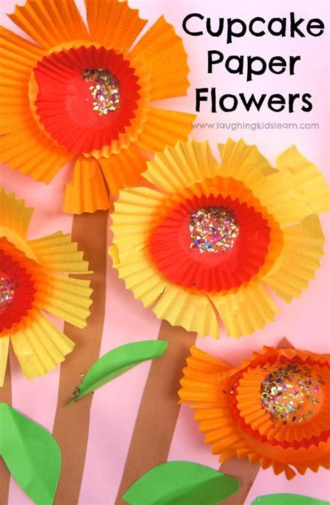 Paper Cupcake Craft - cupcake paper flowers time and glitter