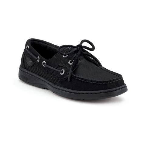 sperry top sider bluefish boat shoes in black lyst