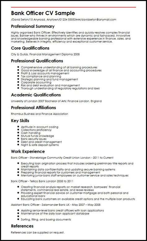bank resume format bank officer cv sle myperfectcv