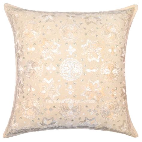 24 Square Pillow by 24 Quot White Mirror Embroidered Square Cotton Indian Throw