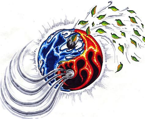 elemental tattoo designs yinyang four elements 4elements element